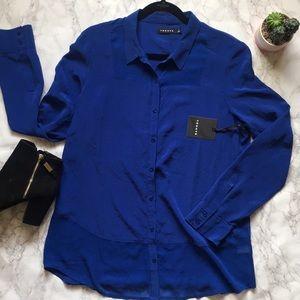 NWT Trouvé Blue Silk Blouse
